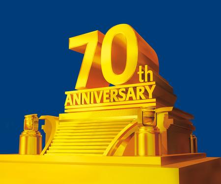 Golden 70th anniversary Stock Photo