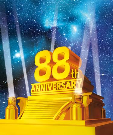 Golden 88th anniversary Stock Photo