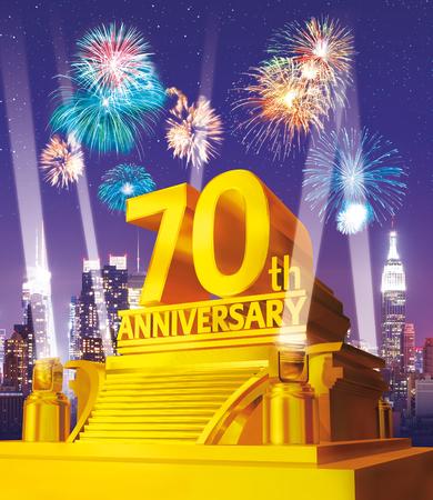 Golden 70 years anniversary against city skyline