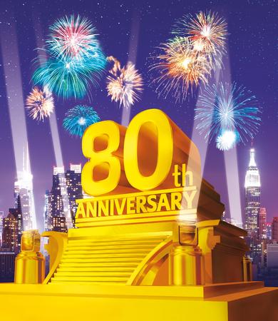 Golden 80 years anniversary against city skyline