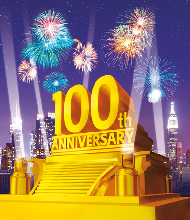 Golden 100 years anniversary against city skyline