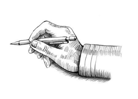Sketch illustration of hand holding pen Stock Photo
