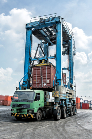 Crane with container and truck