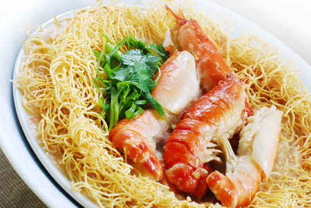 Fried Noodles with King Prawns Stock Photo