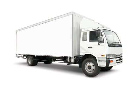 White heavy truck with cargo container