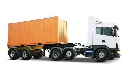 Camion lourd blanc avec conteneur de fret