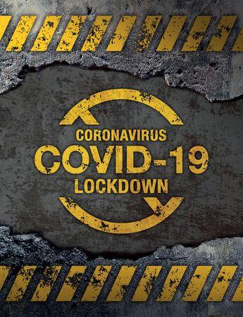 Covid-19 (Coronavirus) lockdown sign on concrete cement wall background