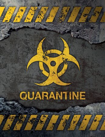 Quarantine sign on concrete cement wall background