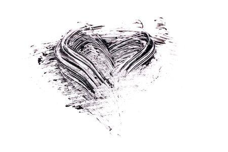 Mascara stroke in shape of heart on white background 스톡 콘텐츠