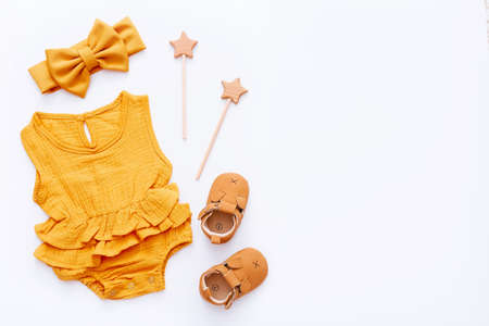 Set of baby stuff and accessories on white background. Baby shower concept. Fashion newborn. Flat lay, top view Stockfoto