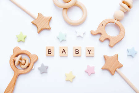 Set of baby stuff and accessories on light background. Baby shower concept. Fashion newborn. Flat lay, top view