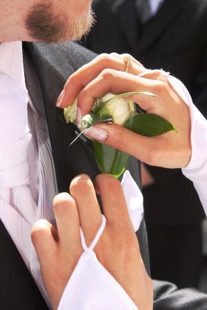 pinning: Pinning flowers Stock Photo