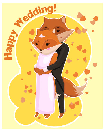 coupling: Cartoon postcard for Wedding with cute foxes