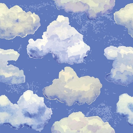 seamless pattern with watercolor cute clouds on blue sky Vector