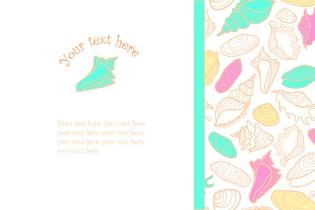 cockleshell: hand drawn background with cute colorful seashells and place for text Illustration