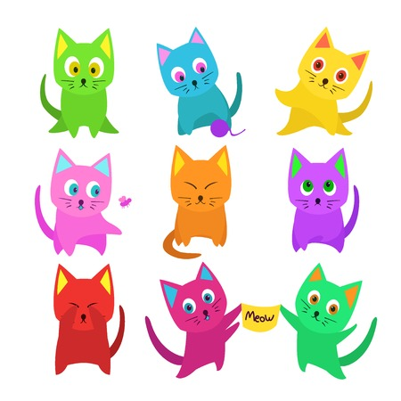 meow: Vector set of funny cartoon cats in unusual colors isolated on white Illustration