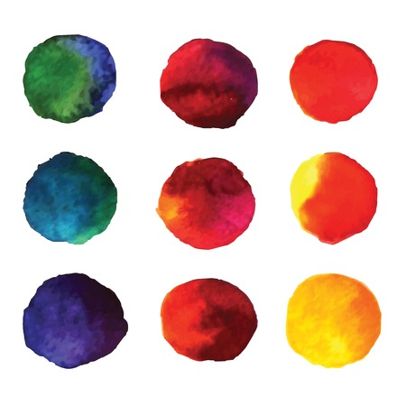 Set of watercolor hand painted gradient circles isolated on white  Wet watercolor elements in vibrant colors for design  Illustration