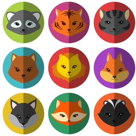 Vector set of colorful cartoon animals flat icons isolated on white Vector