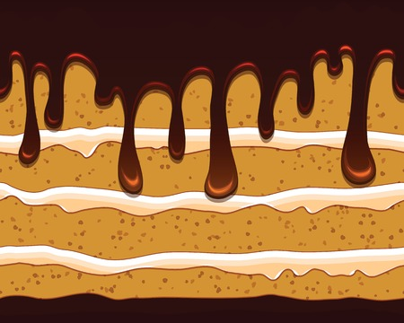 seamless pattern with tasty cake in mouthwatering chockolate glaze  Cartoon stylized cute cake Vector