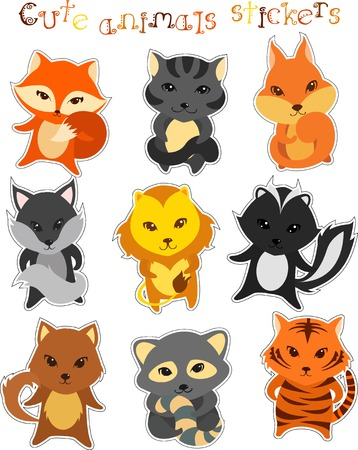 set of cute funny cartoon animals isolated on white Vector