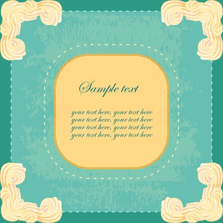 souffle: vintage banner with sweet cream corners and place for your text Illustration