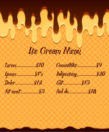 mouthwatering: Ice cream menu or price poster on waffle vanilla ice cream in mouthwatering chocolate glaze background Illustration
