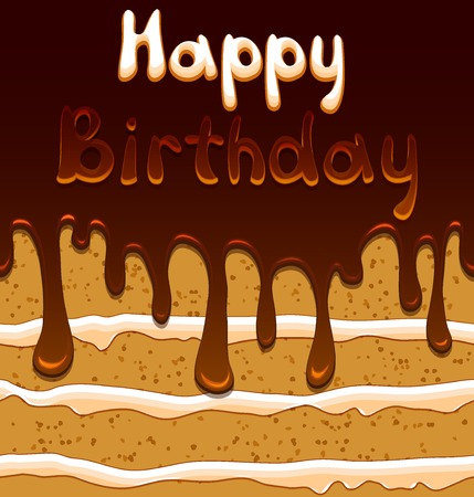 mouthwatering: Vector birthday card on the background with cartoon style sweet biscuit cake in mouthwatering chocolate glaze Illustration