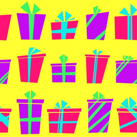 birthday gift: Vector seamless pattern with flat cartoon style present boxes wrapped in ribbons
