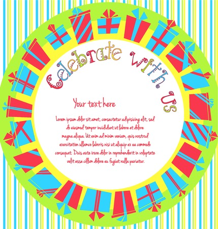 Vector colorful birthday invitation card with gift boxes in circle and stripes on background  Cartoon birthday card with place for text  Vector