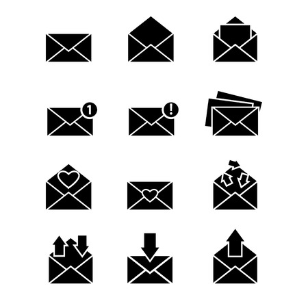 Vector simple designed email message icons set with different envelopes isolated on white Vector