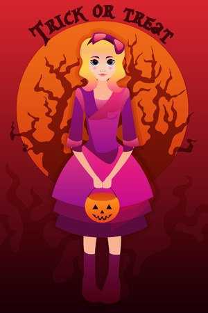 Vector halloween greeting card with illustration of a cute girl in cartoon style on crimson background  with a scary tree Vector