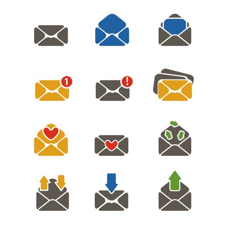 simple designed colorful flat email message icons set with different envelopes isolated on white Vector