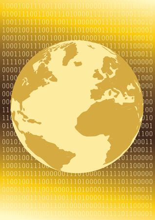 Golden Inet Globe Stock Vector - 4951098