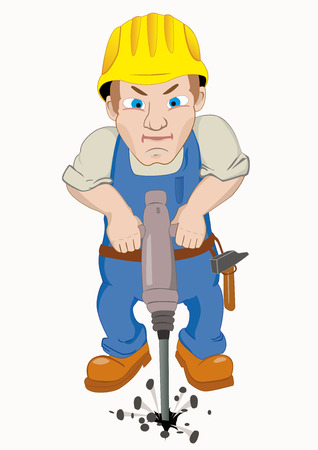 bluey: streetworker at work with chisel an yellow protective helmet Illustration