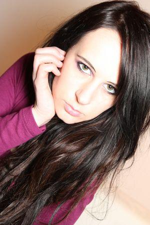 Girl with black hair.