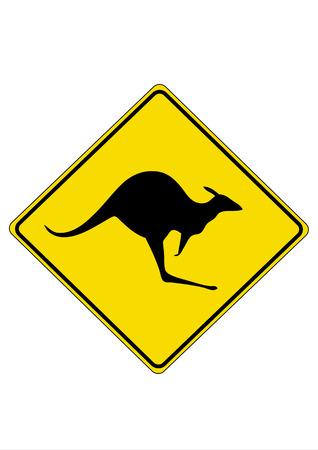 Kangaroo road sign. Vector