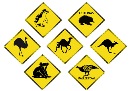 emu: Australian Road Signs Illustration