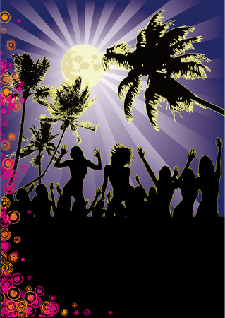 Full Moon Beach Party Vector