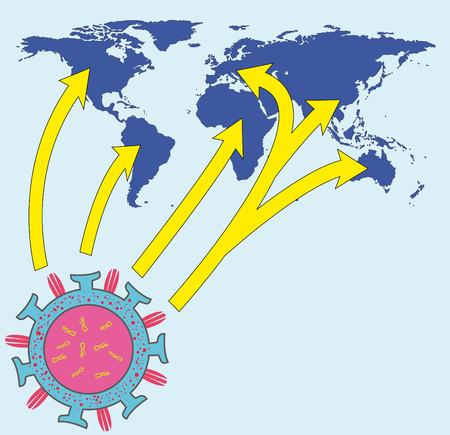 epidemic: Worldmap looks Epidemic Illustration