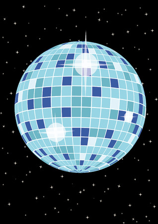 fest: Flyer with disco ball for your party or fest. Illustration