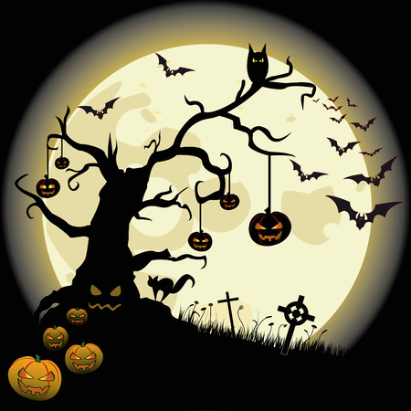 flier: Halloween background with full moon and many fear objects.