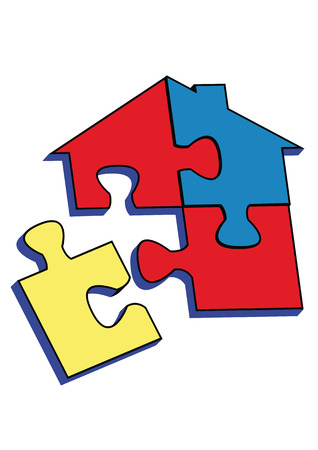 logo house: Puzzel, huis op whihe achtergrond