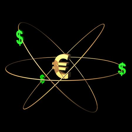 European currency symbol with dollars. photo
