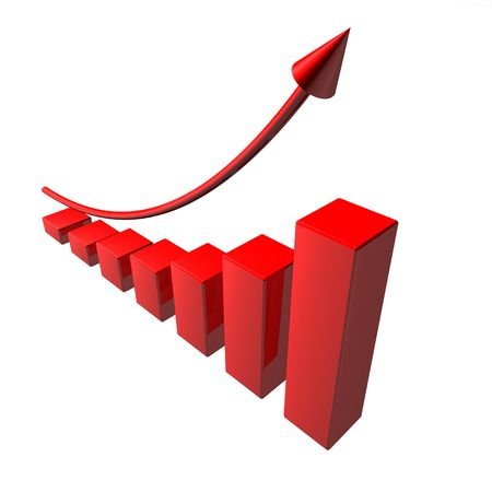 Red arrow on red diagram, looks abstractly succes business. Stock Photo - 5644239