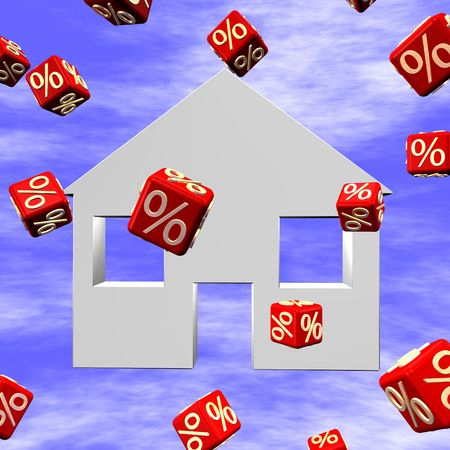 per cent: Falling prices by the real estates, abstract in 3d.