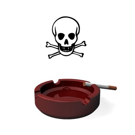 cigaret: 3d illustration looks ash tray and skulls.