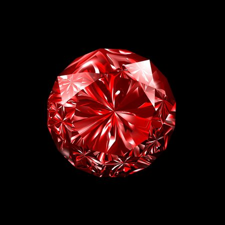 gemstone: 3d illustration looks red ruby on black background