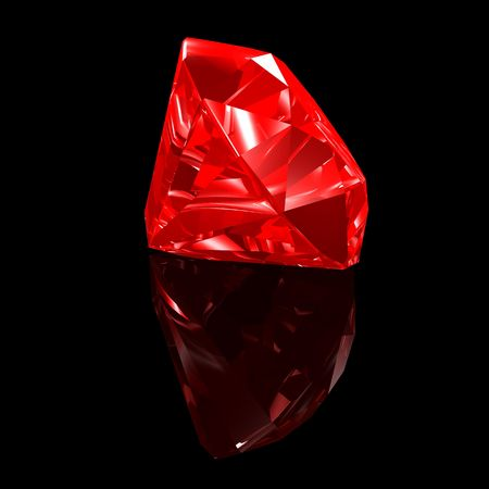 ruby gemstone: 3d illustration looks red ruby gemstone on the black background.