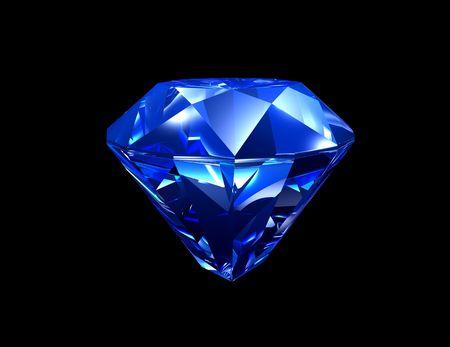 3d illustration looks blue sapphire on black background.