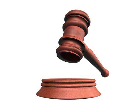 3d illustration looks judge hammer for a white background. Stock Illustration - 5776445